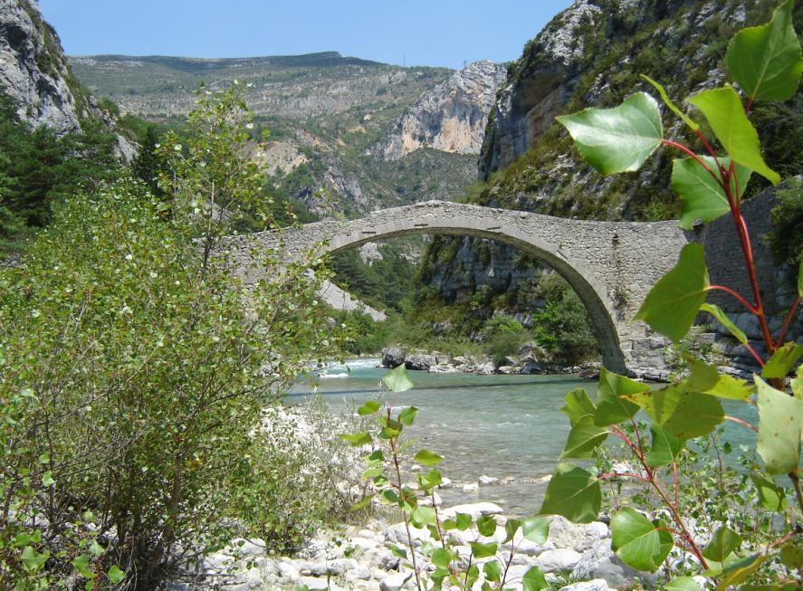 Famous Roman Tusset Bridge in the Verdon Gorges, France