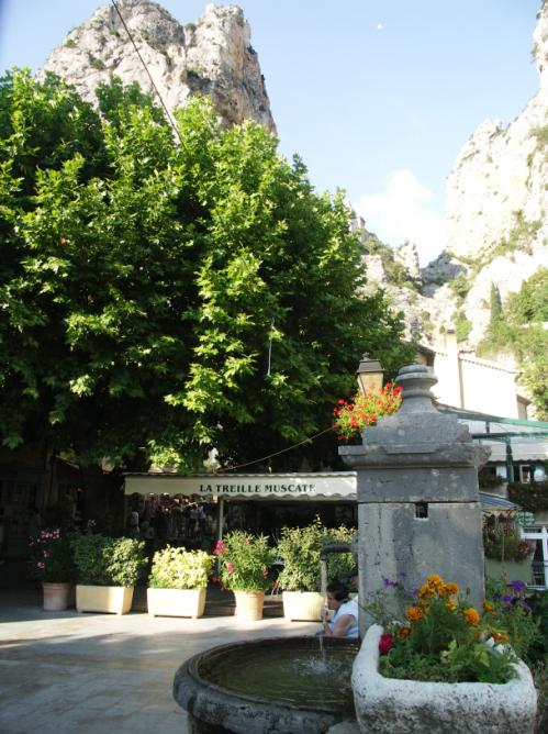 The village of Moustiers-Sainte-Marie in the Verdon Gorges, France